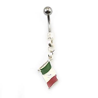 Belly button ring with mexican flag dangle 14g