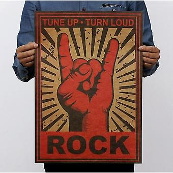 Halten Sie auf Rock Geste Vintage Kraft Papier klassische Filmplakat