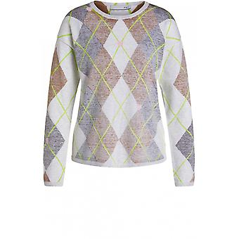 Oui Argyle Fine Knit Jumper