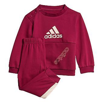 adidas favoritos crianças crianças meninas fleece crew tracksuit jogger set roxo
