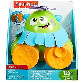 Fisher-Price FHG01 Walk and Whirl Monster, Taapero vetää lelua pitkin väreillä ja tekstuureilla, sopii 1-vuotiaalle