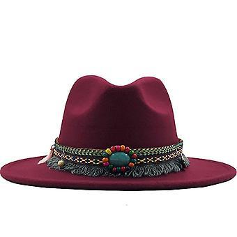 Neue Männer Frauen breite Krempe Wolle Filz Fedora Panama Hut mit Gürtel