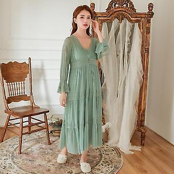 لينة مشروط المرأة & apos؛ ق روب مجموعات الربيع الخريف خمر الأميرة ملابس النوم الطويلة