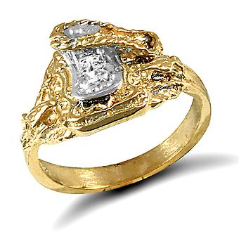 Jewelco London Kids Solid 9ct Yellow Gold White Round Brilliant Cubic Zirconia Horse Saddle Baby Ring