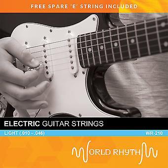 Light Electric Guitar Strings by World Rhythm - .010 - .046 Guitar