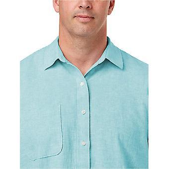 Essentials Men's Groß & Groß Kurzarm Leinen Baumwollhemd passen von DXL...
