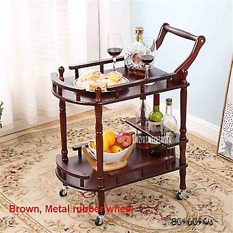 Movable Tea Tables Dining Car And  Trolley Solid Wood Coffee Multipurpose