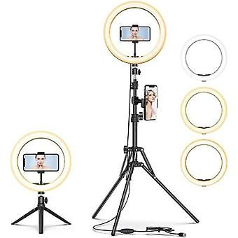 "10""led Selfie Ring Light,dimmable Beauty Ringlight,with Tripod Stand And Cell Phone Holder"
