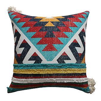 24 X 24 Almohada de acento de algodón tejido a mano con estampado Kilim, multicolor