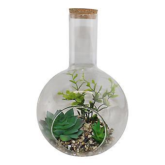 Large Faux Succulent In Glass Terrarium