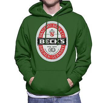 Beck's Beer Classic Label Men's Hooded Sweatshirt