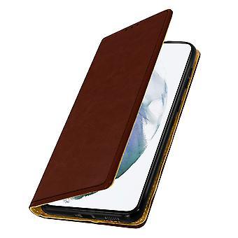 Samsung Galaxy S21: n kotelo, jossa on aito nahka, videotoiminto - Ruskea