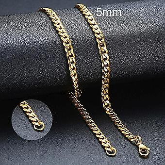 Men Simple Stainless Steel Cuban Link Chain, Necklaces For Male, Jewelry Solid