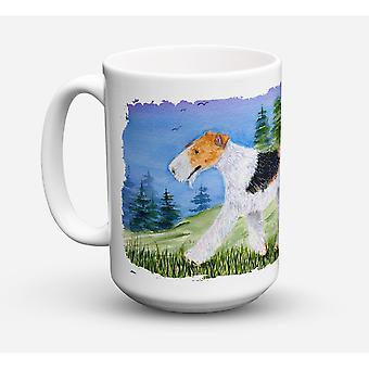 Caroline's Treasures SS8599CM15 Fox Terrier Dishwasher Safe Microwavable Ceramic Coffee Mug, 15 oz, Multicolor