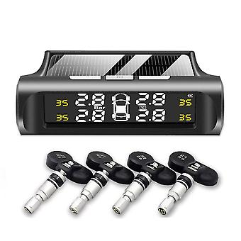 Tire Pressure Sensor/monitoring System Solar Power Digital Tmps Lcd Display Usb