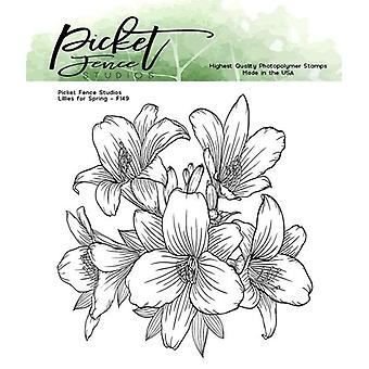 Picket Fence Studios Lilies for Spring 4x4 Inch Clear Stamps