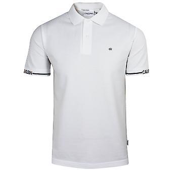 Calvin klein men's bright white logo cuff polo shirt