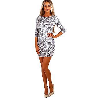 Dámske flitrové mini šaty s polovičným rukávom o krku večerný party klub elegantné bodycon striebro