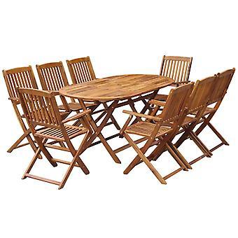 9 piezas plegables al aire libre comedor conjunto sólido madera de acacia