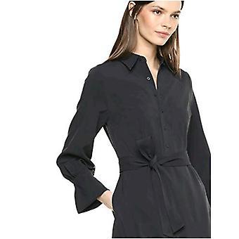 Brand - Lærke & Ro Kvinder's Langærmet Tie Waist Stretch Vævet Skjorte Kjole, Dark Navy 16