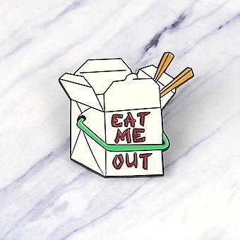 Fast Food Box Emaille Pin, Cartoon essen mich Broschen Button Abzeichen, Freunde, Revers