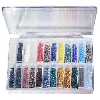 Peruselementit, lasiset siemenet valikoima ja säilytysastia, koko 6/0 Pyöreä, 196,8 grammaa yhteensä