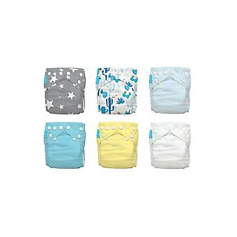 Charlie Banana® 2-in-1 Reusable One Size Diapers Hybrid AIO - 6-pack