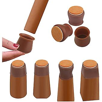 Brown m 16 pcs silicone chair leg floor protectors with felt prevent scratches and reduce noise cai20