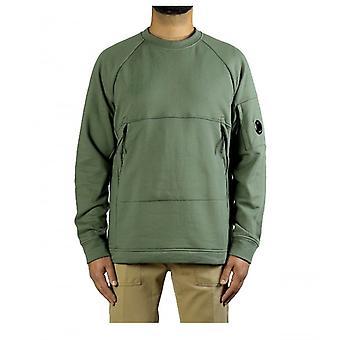 C.p. Company Diagonal Raised Fleece Lens Green Sweatshirt
