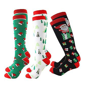 3 Pairs Christmas Compression Socks Breathable Stocking Chic Sport Stockings