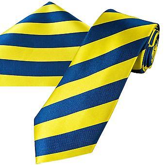 Solmiot Planet Gold Label Yellow & Blue Striped Miesten silkki solmio & tasku neliö nenäliina setti