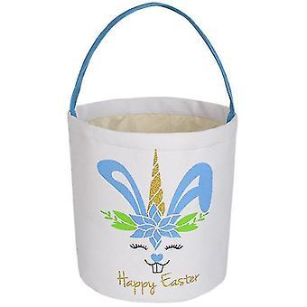 Easter Bunny Basket Egg Bags For Kids, Candy Egg Basket Rabbit  Print Buckets(Blue)