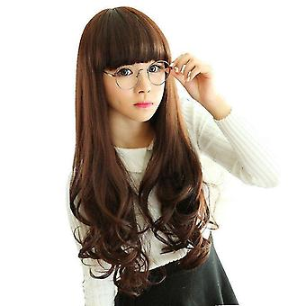 Wig Female Long Curly Hair Big Wave Oblique Bangs Waist Long Hair Synthetic Headgear