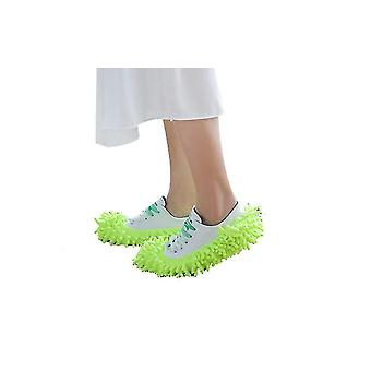 Mop Slippers Shoes Cover Soft Washable Reusable Cleaning The Floor(Green)