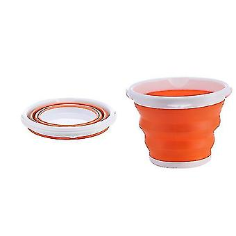 Outdoor Folding Fishing Portable Car Storage And Art Pen Washing Telescopic Barrel(Orange)