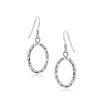 Sterling Silver Open Oval Drop Earrings with Textured Design