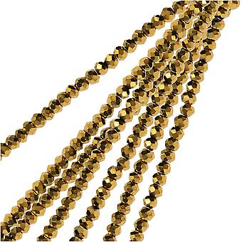 Crystal Beads, Faceted Rondelle 1.5x2.5mm, 2 Strands, Opaque Gold Iris
