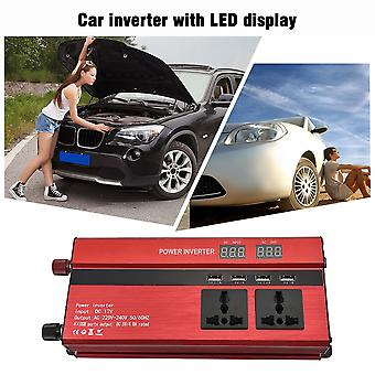 Portable 1200w Power Car Inverter With Lcd Display 12v-220v With 4 Usb Ports