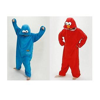 Sesame Street Cookie Monster Blue&red Elmo Costume Pajamas