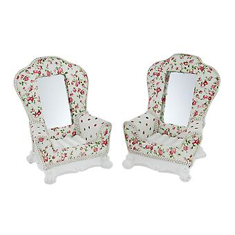 2 Piece English Romance Floral Country Cottage Chair Jewelry Holder Set