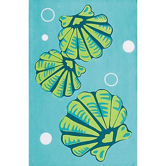 Coastal Blue and Green Seashells Printed 100% Cotton Kitchen Dish Towel