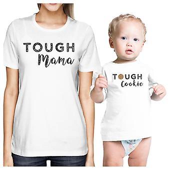 Mocna Mama idealna Cookie biały śmieszne Mama i dziecko pasujące stroje prezenty