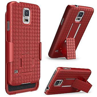 i-Blason-Samsung Galaxy S5 Case -Transformer Slim Hard Shell Holster Combo Cover -Red