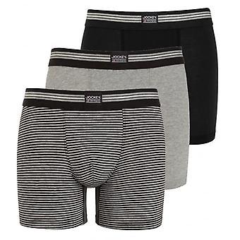 Jockey 3pcs coton Stretch Boxer Slip, noir/gris