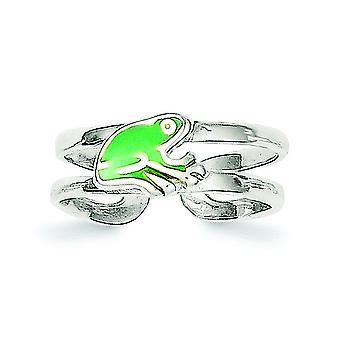 925 plata de ley verde sólido esmaltado rana dedo del pie anillo regalos de joyería para las mujeres - 1.5 gramos