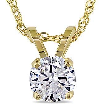 1/2ct Solitaire Round Diamond Pendant Necklace 14K Yellow Gold (I2-I3)