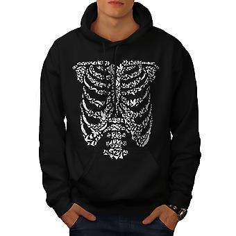 Art Skeleton Bones Skull Men BlackHoodie | Wellcoda
