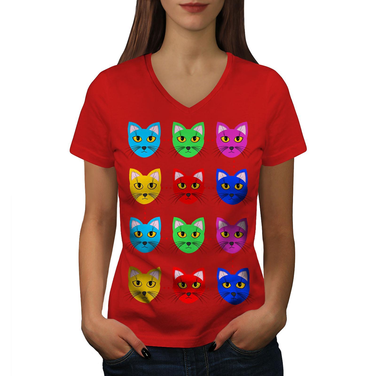 Femmes poilues mignon coloré RedV-Neck T-shirt | Wellcoda