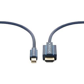 clicktronic DisplayPort / HDMI Cable [1x Mini DisplayPort plug - 1x HDMI plug] 3 m Blue