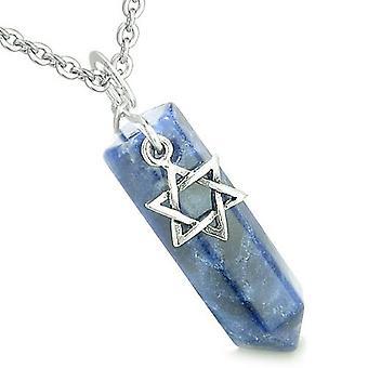 Amulet King of Solomon Star of David Crystal Point Magic Charm Sodalite Spiritual Pendant Necklace
